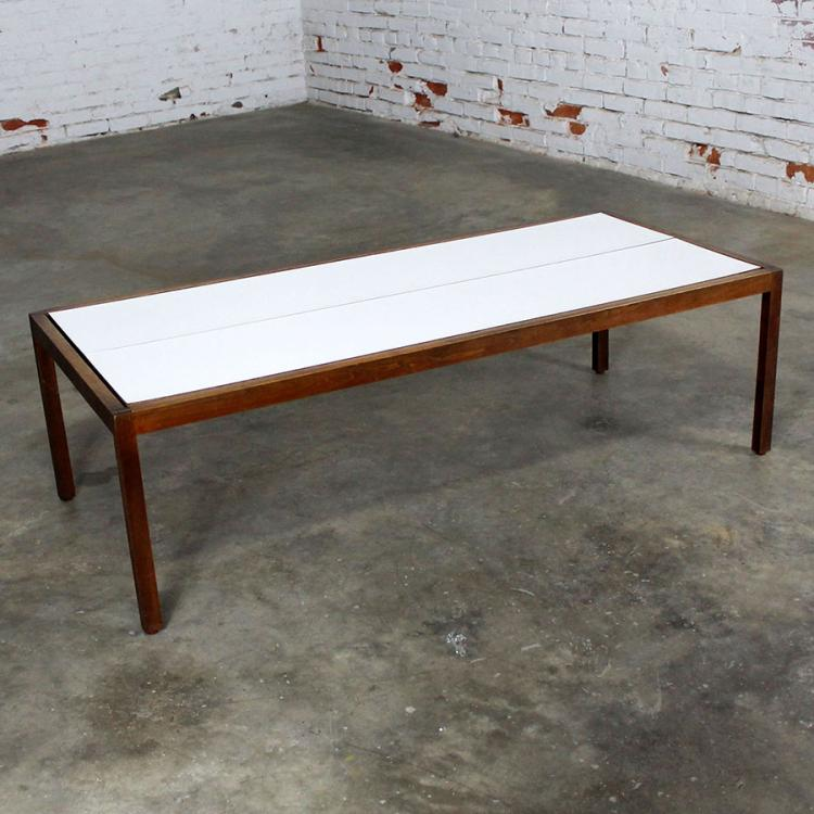 Knoll Walnut And White Laminate Lewis Butler Coffee Table Mid Century Modern