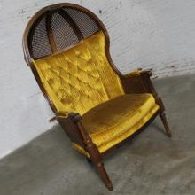 Neoclassical Style Hooded Cane Porter?s Chair Vintage