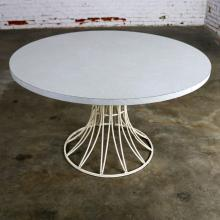 Mid Century Modern Round Wrought Iron and Laminate Patio Dining Table Style of Arturo Pani