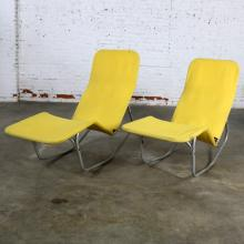 Pair Bartolucci-Waldheim Barwa Lounge Chairs Aluminum and Yellow Canvas