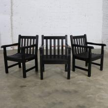 Vintage Windsor Blackened Teak Outdoor Armchairs