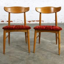 Pair Mid Century Modern Birchcraft Danish Style Side Chairs by Baumritter