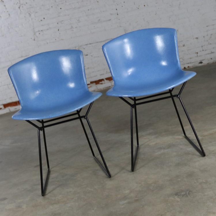 Pair Harry Bertoia for Knoll Blue Fiberglass Side Chairs Bla