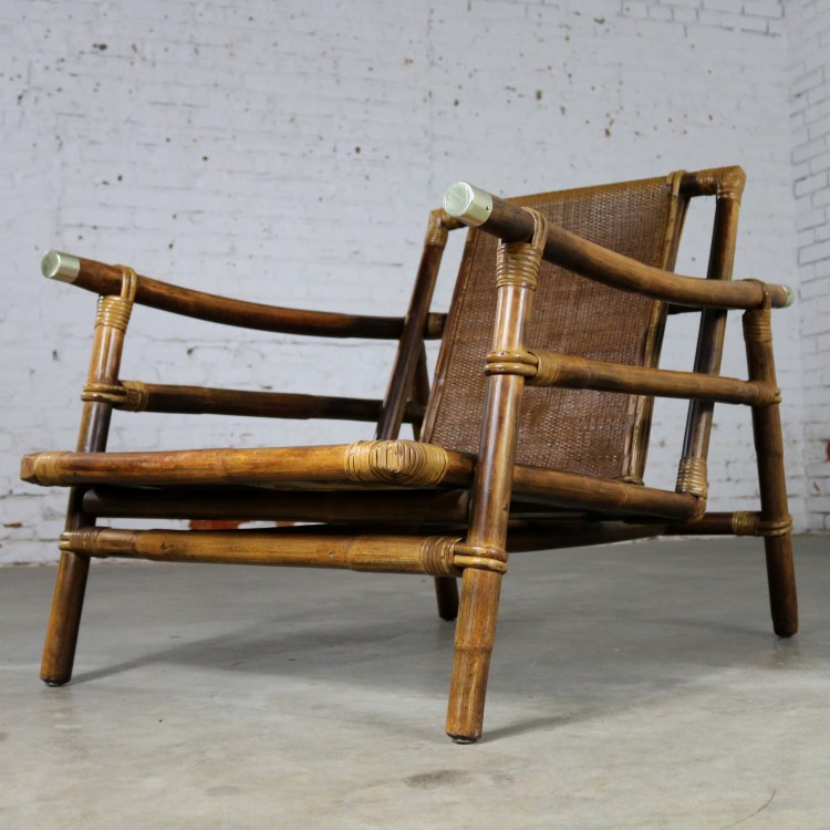 Ficks Reed Rattan Lounge Club Chair With Brass Accents John Wisner Campaign  Style Far East Collection
