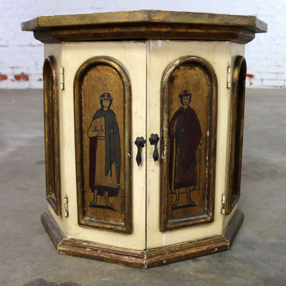 Vintage Hand Painted Octagon Drum Side Table Cabinet Attributed To Arte De  Mexico