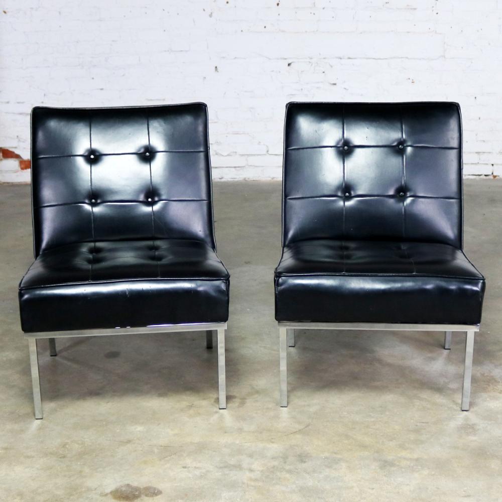 Paoli Chair Co. Black Naugahyde and Chrome MCM Slipper Chairs Style of Florence Knoll a & Paoli Chair Co. Black Naugahyde and Chrome MCM Slipper Chair