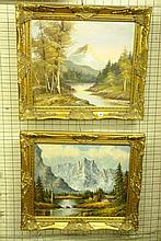 PAIR OF G. WHITMAN OIL ON CANVAS MOUNTAIN