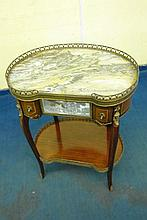 LOUIS XV STYLE MARBLE TOP KIDNEY SHAPED TABLE A