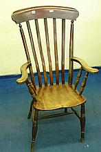 19TH CENTURY BEECH HIGH COMB BACK COUNTRY ELBOW