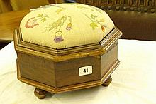 19TH CENTURY WALNUT OCTAGONAL WORK BOX WITH RAISED