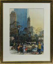 Woldemar Neufeld (American, 1909-2002) Pen & Ink & W/C