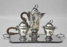Three piece Mexican silver tea service