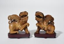 Pair of Chinese carved & jeweled ivory foo lions