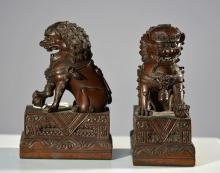 Pair Chinese Cast Bronze Foo Dogs