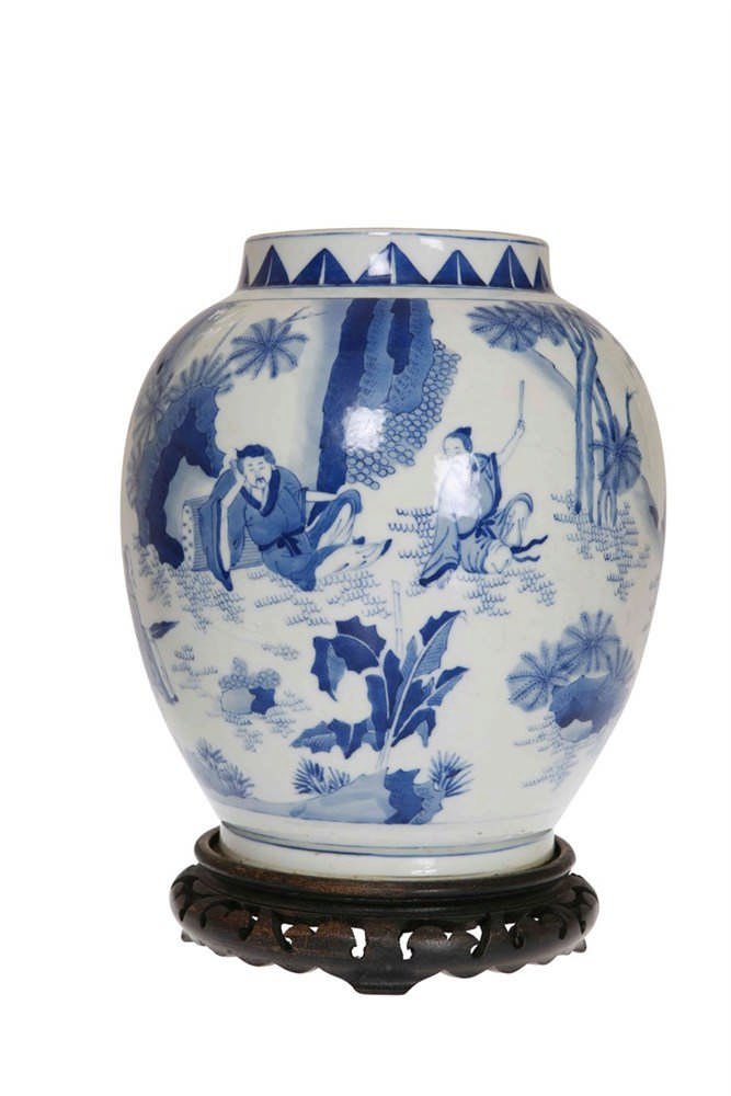 A Chinese Blue And White Porcelain Vase Decorated In The Ro