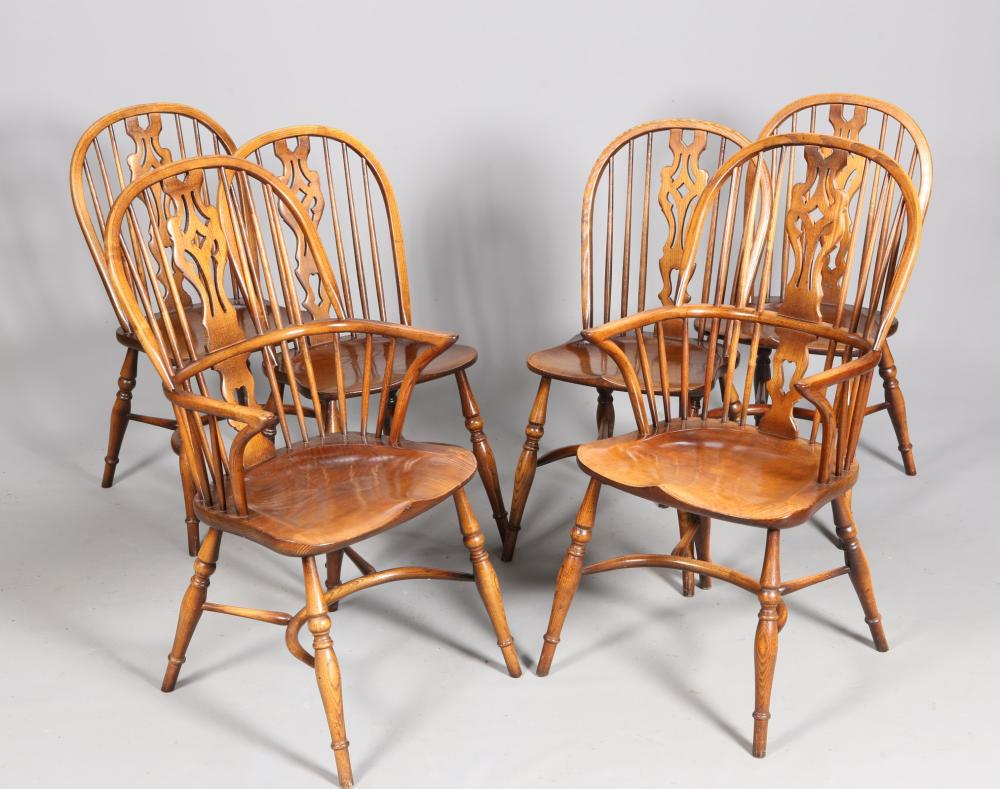 A SET OF SIX OAK AND ELM WINDSOR STYLE CHAIRS, including a pair of carvers - Windsor Chairs For Sale At Online Auction Buy Rare Windsor Chairs