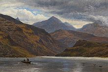 George Vicat Cole (1833-1893), Fishing on a Highland loch, monogrammed lower right, oil on board, fr