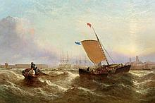 Manner of William Clarkson Stanfield (1793-1867), Fishing boats off Portsmouth harbour, bears signature and dated 1853 lower left, oil on canvas, in period gilt-composition frame. 74cm by 125cm