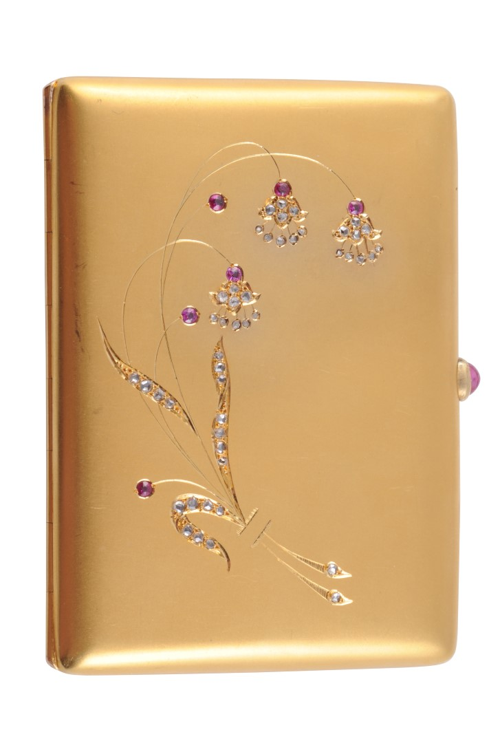 A VERY FINE 18 CARAT GOLD, RUBY AND DIAMOND CARD CASE, The S
