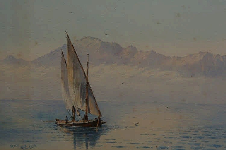 Arthur Verey, Sailing boat with mountains in the background, signed and dated 1888 lower left, watercolour, framed. 27.5cm by 49cm