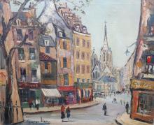 GEORGE HANN (1900-1979), PARISIAN STREET SCENE, signed lower left, oil on c