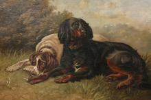 W*** H*** KNIGHT, TWO DOGS IN A LANDSCAPE, signed lower right, oil on board