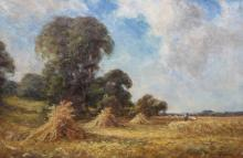 PERCY LESLIE LARA (1870-1950), HARVESTERS, signed, oil on canvas, framed un
