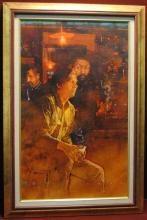 C. Michael Dudash Acrylic Painting Franklin Mint Man at
