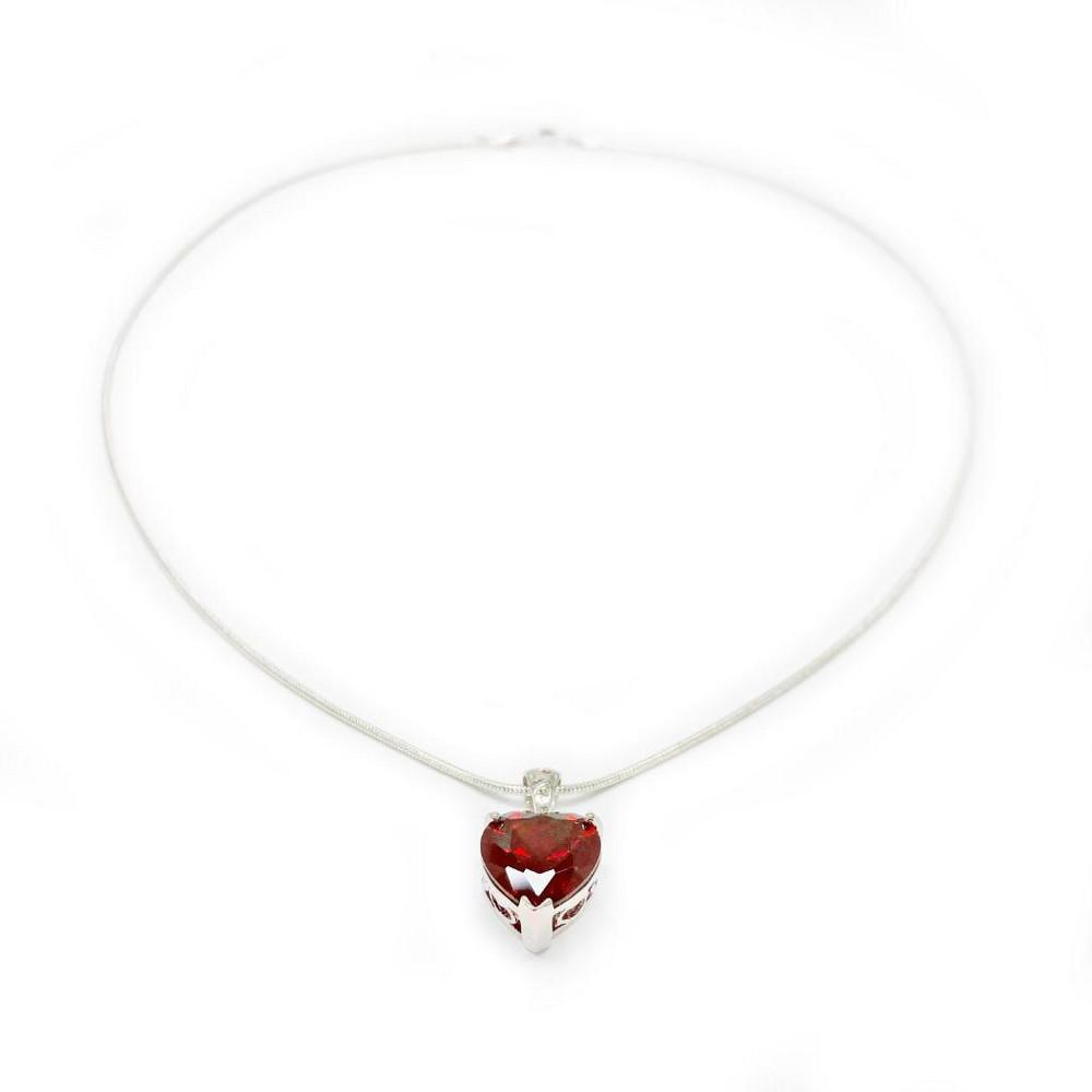 Natural Heart Fire Red Garnet Gemstone Necklace Pendant On 925 Silver Plated Snake Link Chain