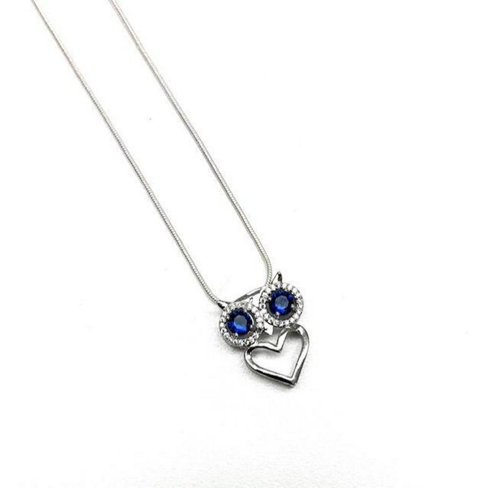 Enchanted Bejeweled Owl Heart Pendant On A 925 Silver Chain