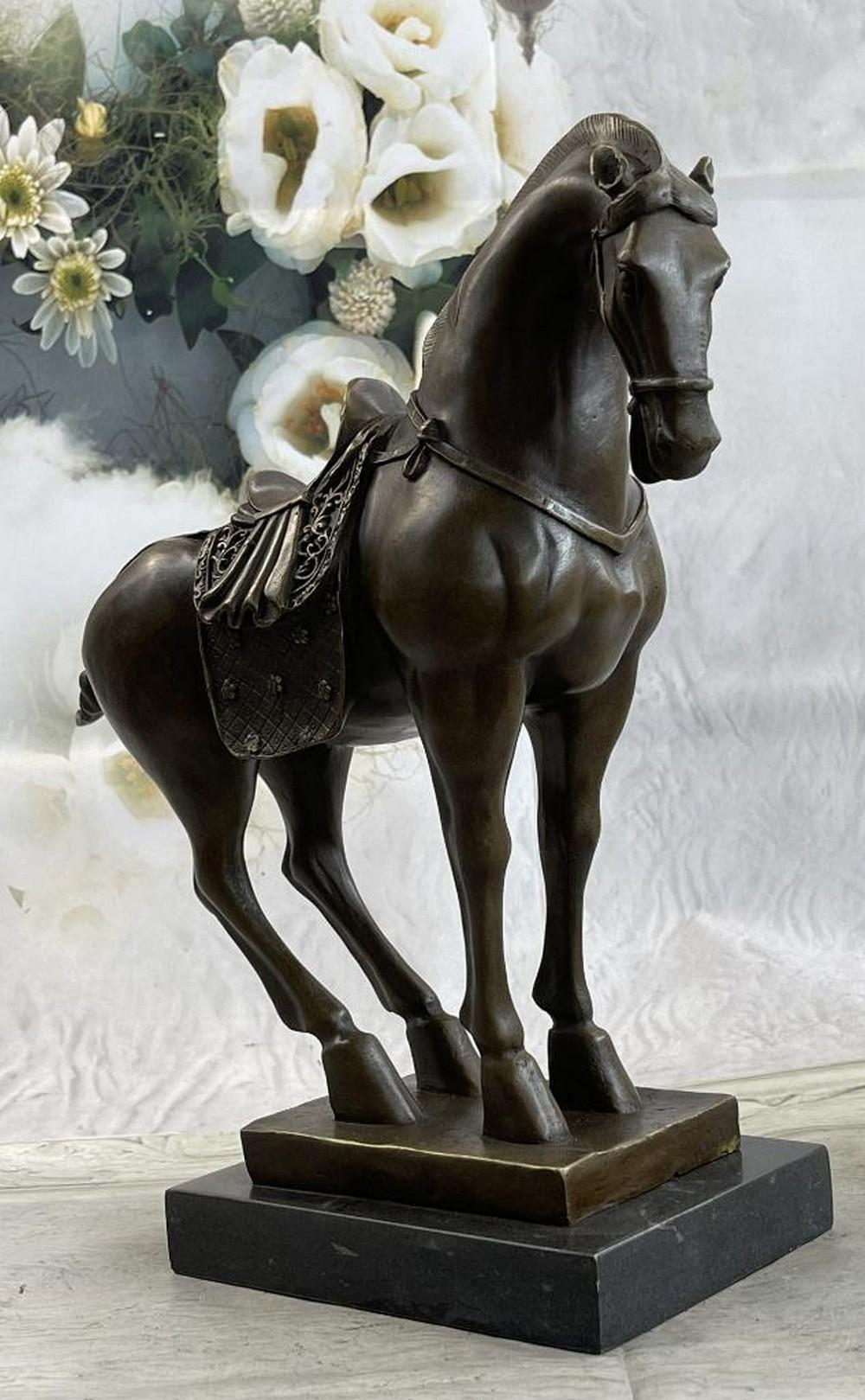 Tang Dynasty Bronze Horse Sculpture With Marble Base