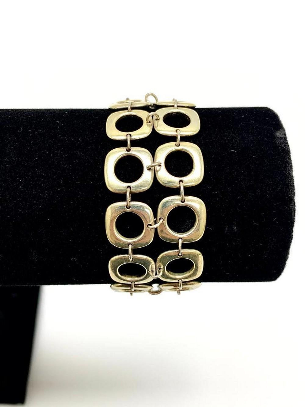 Tiffany & Co. Two Row Double Square Cushion Toggle Bracelet Sterling Silver 925