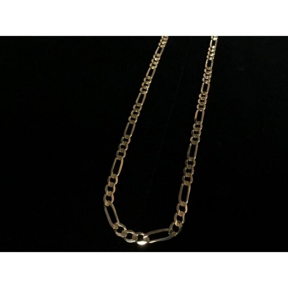 Hand Made Figaro Designed 10K Solid Yellow Gold Men's Necklace