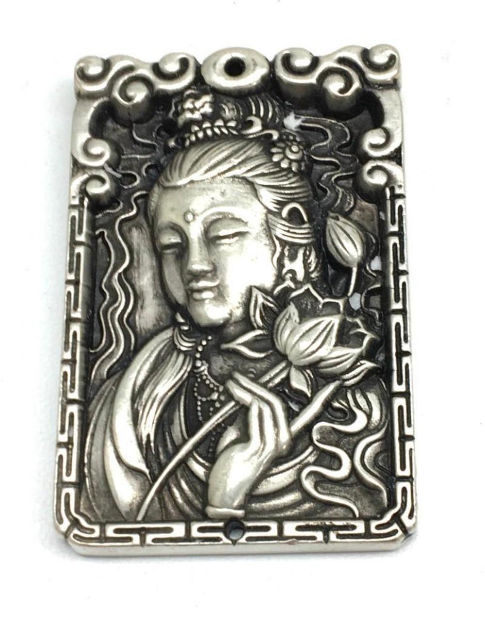 Asian Tibetan Silver Amulet Bar