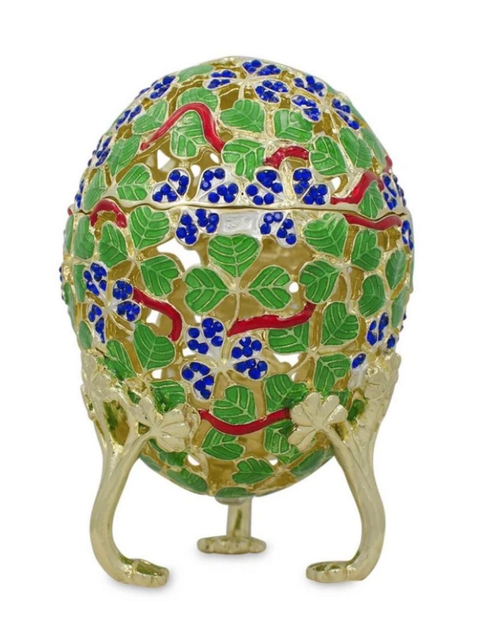 1902 Royal Green Clover Leaf Russian Inspired Egg