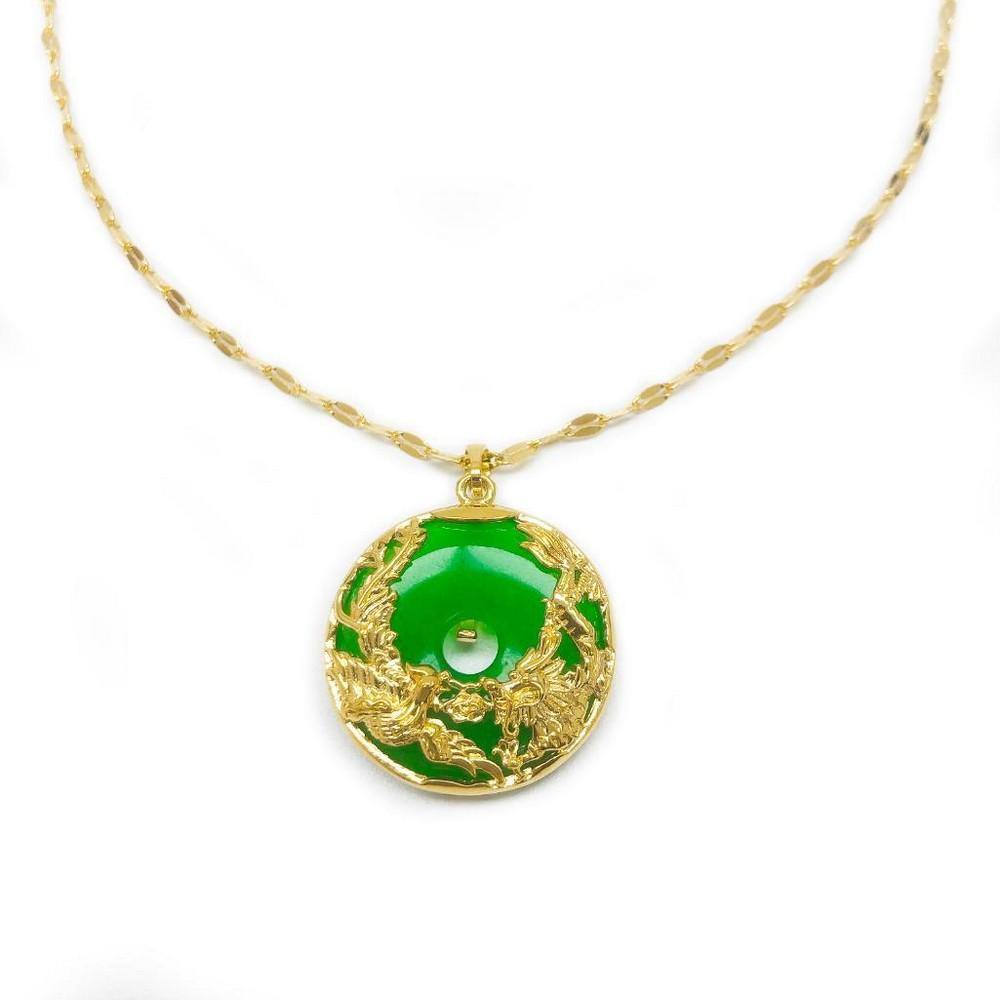 Chinese Green Jade Dragon And Phoenix Paired With An 18 Karat Gold Plated Necklace