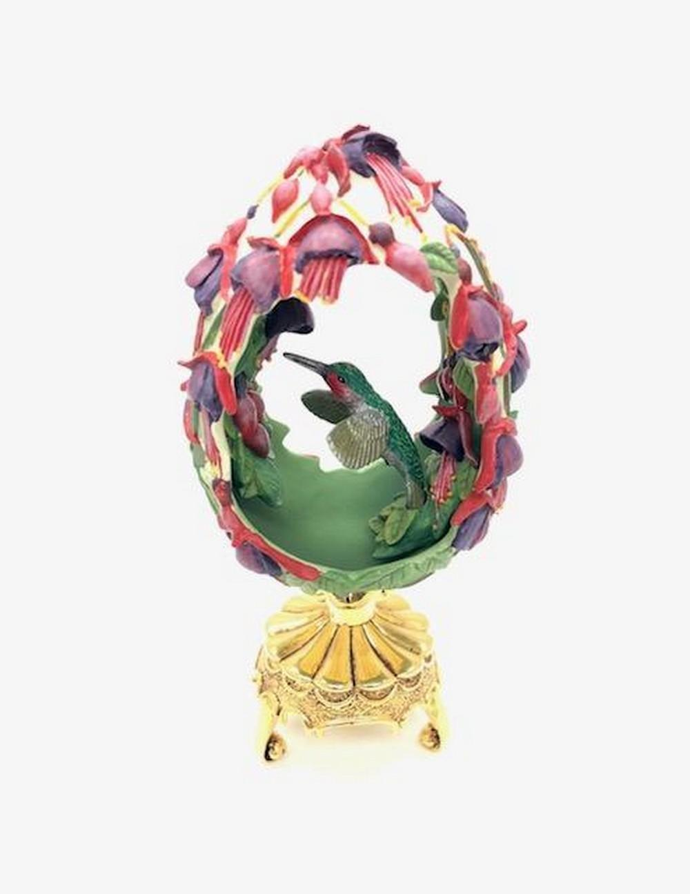 Franklin Mint Fuchsia FlowerHummingbird Faberge Egg On Gold Toned Stand
