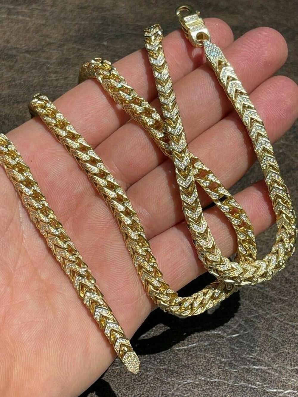"""Men's & Ladies 22"""" 14K Gold Over Solid 925 Sterling Silver 6mm Diamond Franco Chain"""