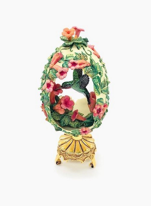 Franklin Mint Trumpet Vine Hummingbird Faberge Egg On Stand