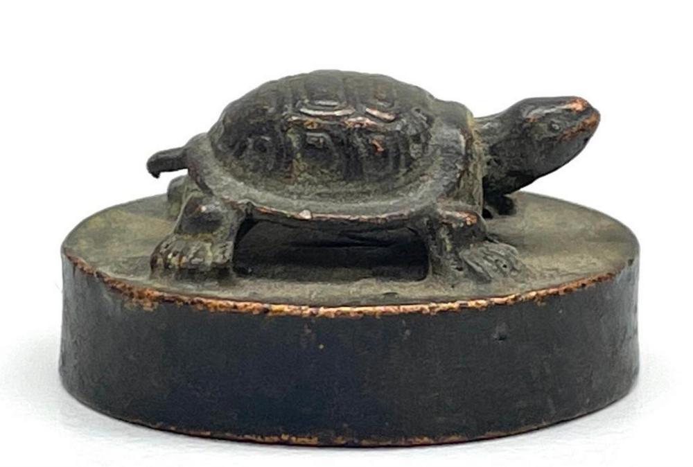 Vintage Copper Signet Set Japanese Office Kanji Wax Stamp Seal Tortoise Statue J