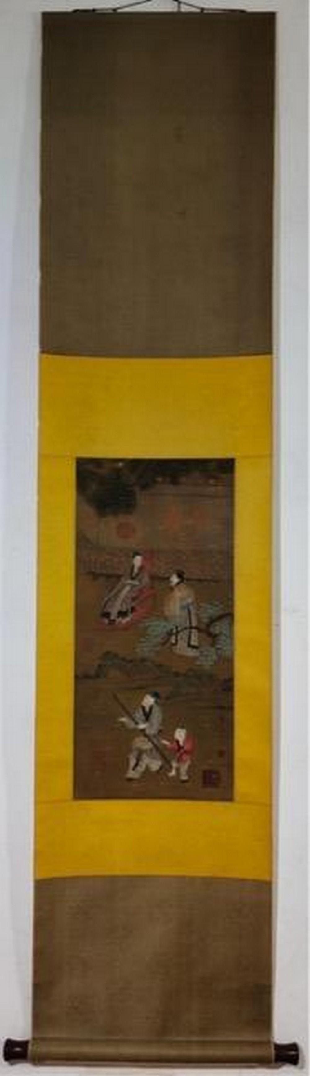 Story silk scroll by Qiu Ying
