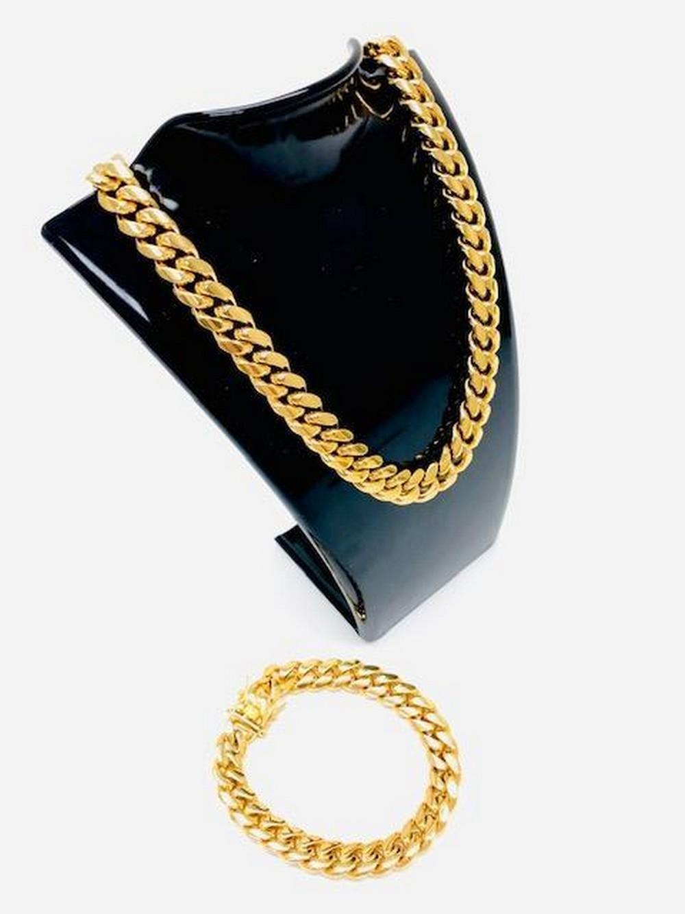Mens 18K Gold Plated Cuban Link Necklace And Bracelet