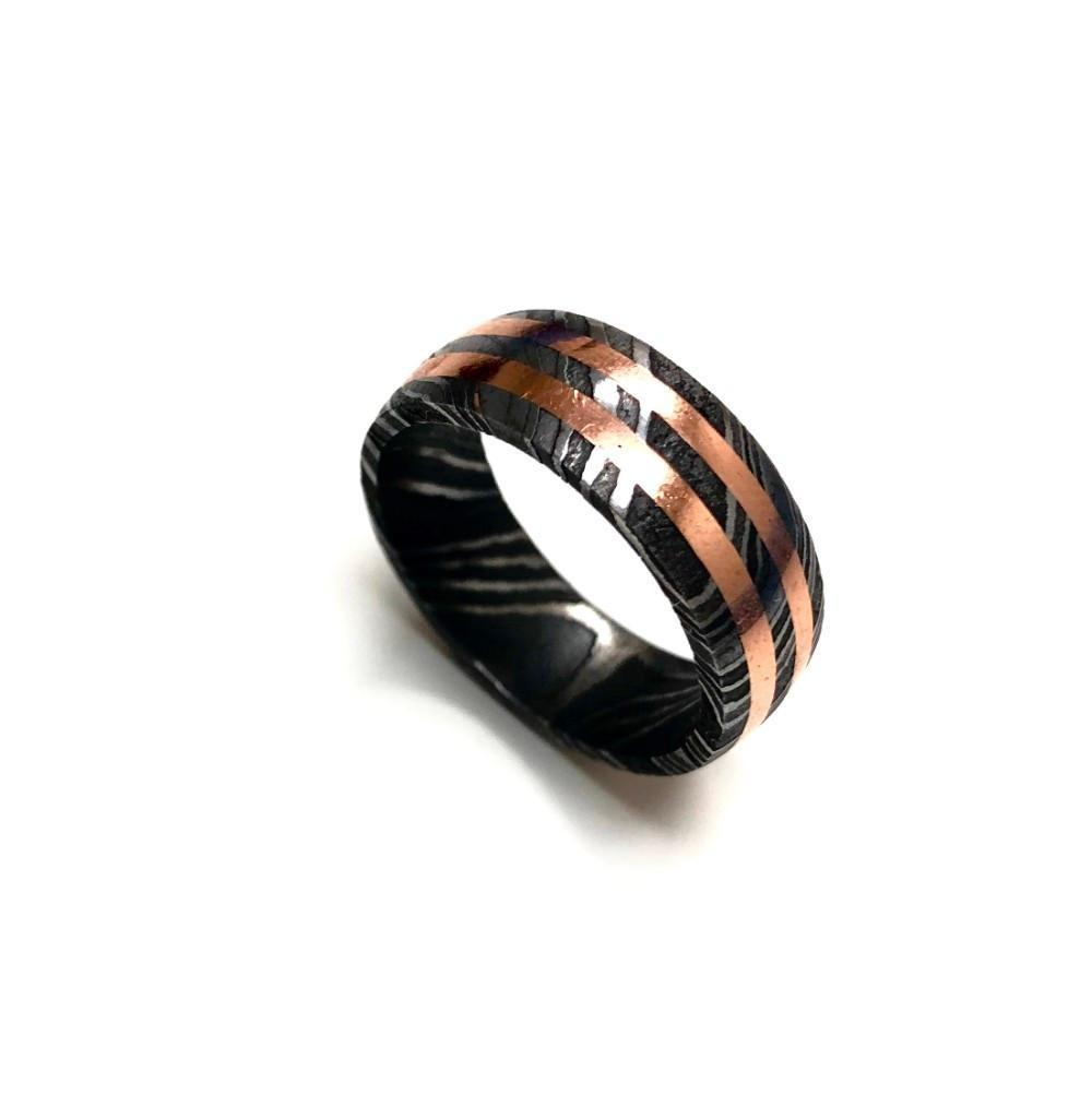 Men's Damascus Steel Ring With Double Banded Rose Gold