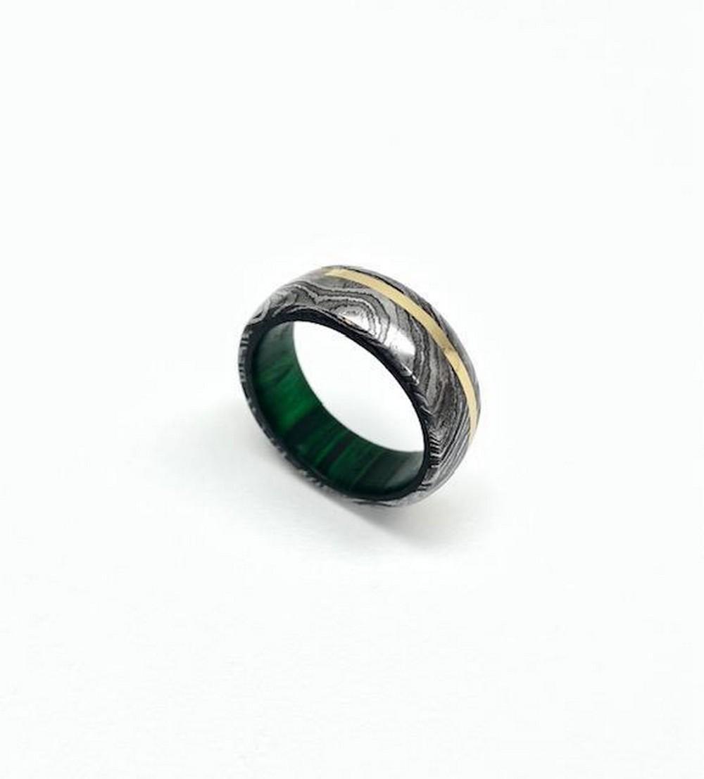 Men's Damascus Steel Ring With Brass ColouredInlay &GreenHardwood Custom Sleeve