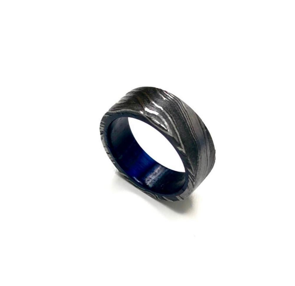 Men's Damascus Steel RingWith Blue Hardwood Custom Inner Sleeve