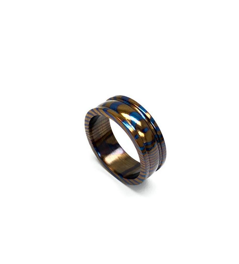Men's Double GroovedTimascus Titanium Ring