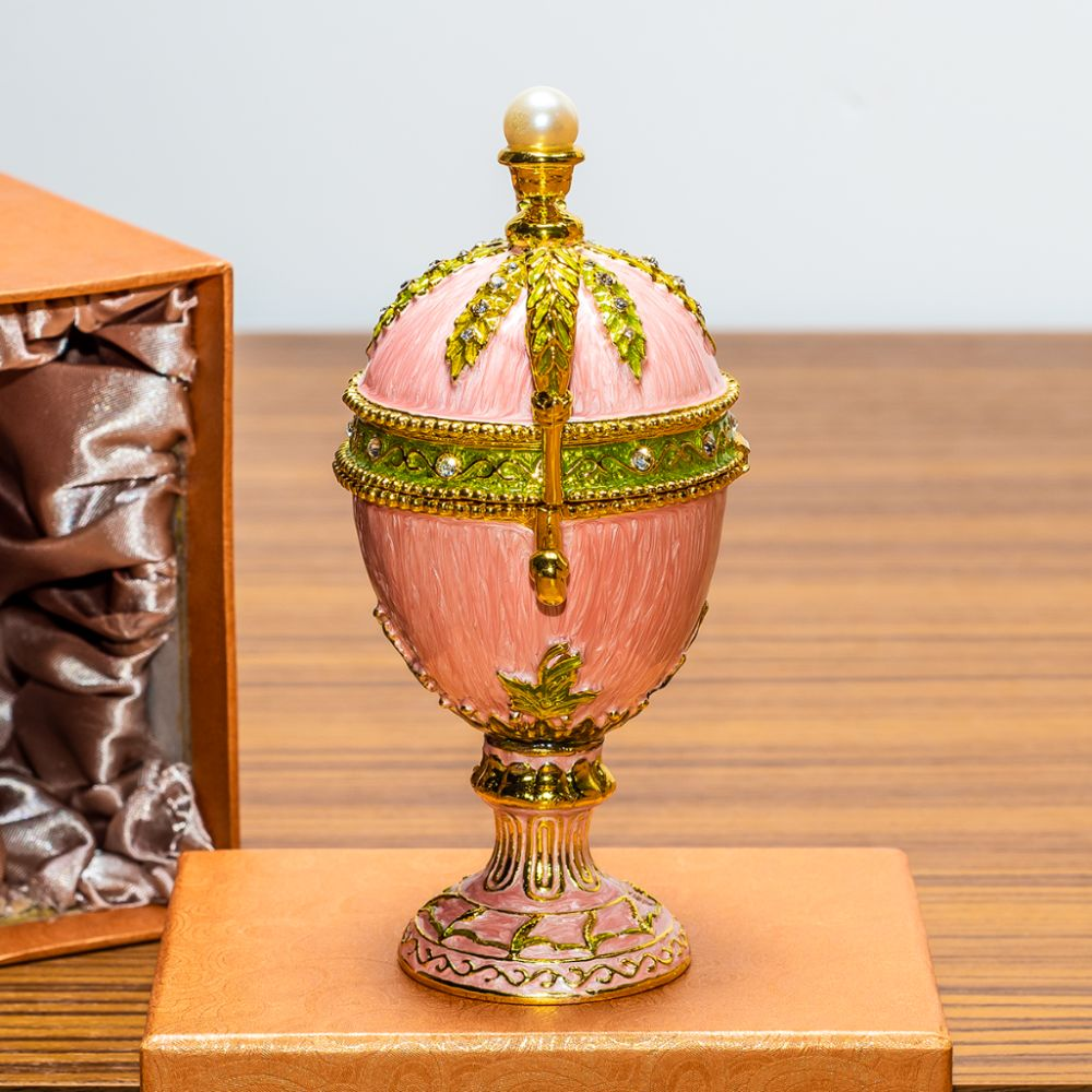 Lot 501: 5.5in Pink Amphora Enameled Royal Inspired Russian Egg Figurine
