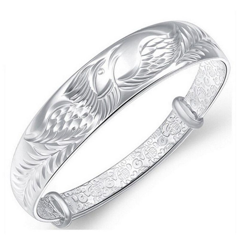 925 Silver Phoenix Bracelet Bangle With Open Clasp