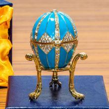 Lot 505: 3.15in Crystal Rhombus on Blue Enamel Royal Inspired Russian Egg
