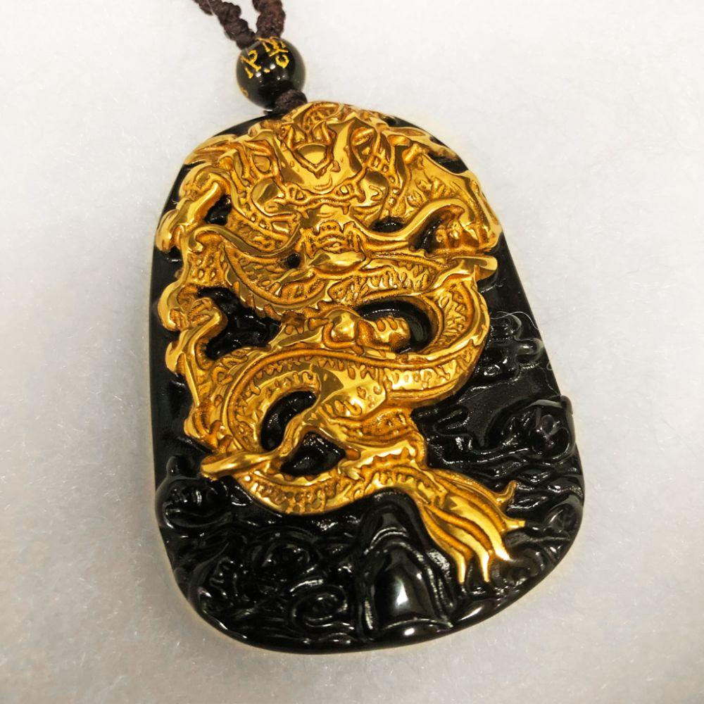 Lot 512: Natural Black Obsidian Asian Dragon Pendant